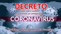 Decreto Dispõe Sobre Medidas de Prevenção ao Contágio pelo Novo Coronavirus no Âmbito da Administração Pública