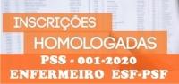 Edital Nº 005 - HOMOLOGAÇÃO DAS INSCRIÇÕES - PSS -001-2020- ENFERMEIRO  ESF-PSF