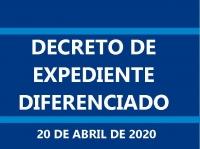 DECRETO nº 038/2020 – Expediente Diferenciado na Data de 20 de Abril