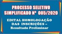 PSS 005- EDITAL HOMOLOGAÇÃO DAS INSCRIÇÕES – Resultado Preliminar