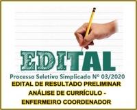 PSS 03 - EDITAL DE RESULTADO PRELIMINAR ANÁLISE DE CURRÍCULO - ENFERMEIRO COORDENADOR
