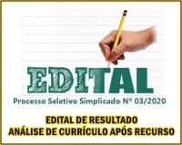 PSS 003 -EDITAL DE RESULTADO ANÁLISE DE CURRÍCULO APÓS RECURSO