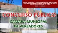 CONCURSO CÂMARA DE VEREADORES - Edital n° 03-2020 - Inscrições Preliminares