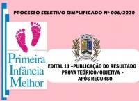 PSS006 - EDITAL 11 –PUBLICAÇÃO DO RESULTADO PROVA TEÓRICO/OBJETIVA  - APÓS RECURSO