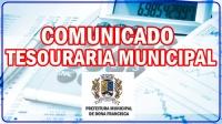 COMUNICADO DA TESOURARIA MUNICIPAL