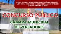 CONCURSO CÂMARA DE VEREADORES - Edital n° 04-2020 - Inscrições Oficiais