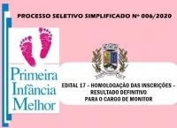 PSS006 – EDITAL 17 – HOMOLOGAÇÃO DAS INSCRIÇÕES – RESULTADO DEFINITIVO PARA O CARGO DE MONITOR