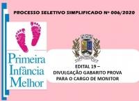 PSS006 – EDITAL 19 – DIVULGAÇÃO GABARITO PROVA PARA O CARGO DE MONITOR