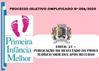 PSS006 – EDITAL 21 – PUBLICAÇÃO DO RESULTADO DA PROVA TEÓRICO/OBJETIVA APÓS RECURSO