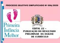 PSS006 – EDITAL 22 – PUBLICAÇÃO DO RESULTADO PRELIMINAR  DA ANÁLISE DE CURRÍCULO