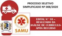 PSS 008 - EDITAL N° 10 – RESULTADO DA ANÁLISE DE CURRÍCULO- APÓS RECURSO