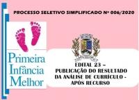 PSS006 – EDITAL 23 – PUBLICAÇÃO DO RESULTADO  DA ANÁLISE DE CURRÍCULO -APÓS RECURSO