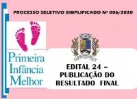 PSS006 – EDITAL 24 – PUBLICAÇÃO DO RESULTADO  FINAL