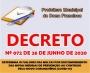 DECRETO 072 DE 26 DE JUNHO DE 2020 - DETERMINA OS VALORES DAS MULTAS POR DESCUMPRIMENTO DAS NOVAS MEDIDAS DE PREVENÇÃO AO CONTÁGIO PELO NOVO CORONAVÍRUS (COVID-19)