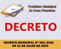 DECRETO MUNICIPAL Nº 092/2020 DE 31 DE JULHO DE 2020