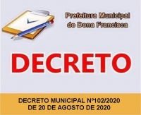 DECRETO Nº 102 DE 20 DE AGOSTO DE 2020