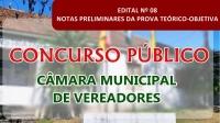 EDITAL Nº 08/2020 – NOTAS PRELIMINARES DA PROVA TEÓRICO-OBJETIVA