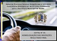 PSS 11 -EDITAL N° 05 – HOMOLOGAÇÃO DAS INSCRIÇÕES – RESULTADO FINAL