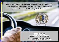 PSS 011 - EDITAL N° 09 – ANÁLISE CURRICULAR – RESULTADO PRELIMINAR