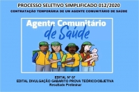 PSS 12 EDITAL N° 07 – EDITAL DIVULGAÇÃO GABARITO PROVA TEÓRICO/OBJETIVA – Resultado Preliminar