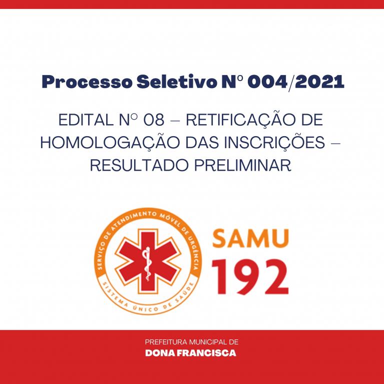 EDITAL N° 08 –  RETIFICAÇÃO DE HOMOLOGAÇÃO DAS INSCRIÇÕES – RESULTADO PRELIMINAR